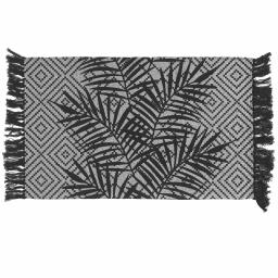 Tapis rectangle a franges 50 x 80 cm coton imprime malaisia Noir/blanc