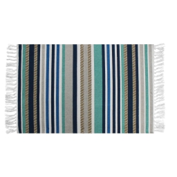 Tapis rectangle a franges 50 x 80 cm coton imprime matelot Bleu