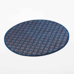 Tapis rond (0) 90 cm velours imprime or graphigold Bleu