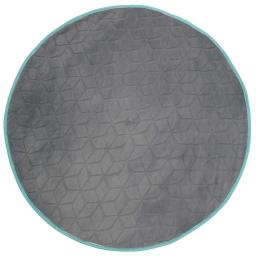 Tapis rond (0) 90 cm velours uni kendo Taupe/Turquoise