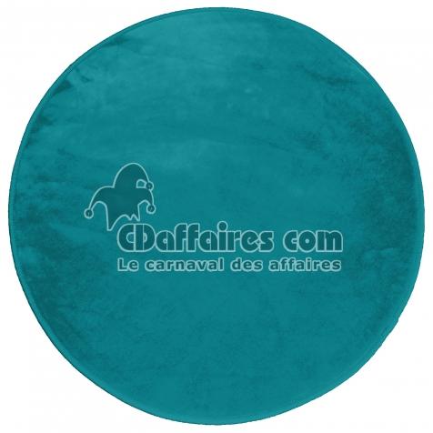 Tapis rond (0) 90 cm velours uni louna Bleu lagon
