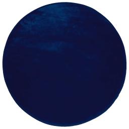 Tapis rond (0) 90 cm velours uni louna Bleu nuit
