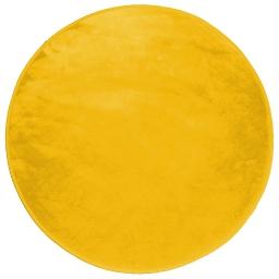 Tapis rond (0) 90 cm velours uni louna Moutarde