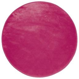 Tapis rond (0) 90 cm velours uni louna Rose