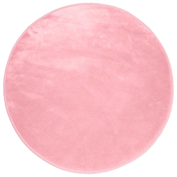Tapis rond (0) 90 cm velours uni louna Rose pale