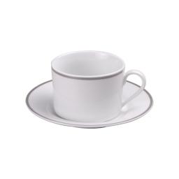 tasse 22cl + sous tasse en porcelaine - dessin filet argente