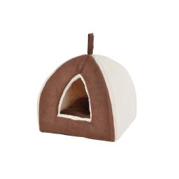 tente pour chat 35x35xh.38cm design polaire coloris chocolat/beige