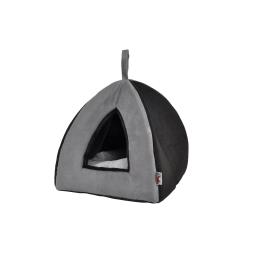 tente pour chat 35x35xh.38cm design polaire coloris gris/noir