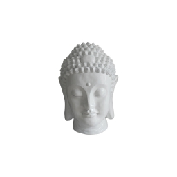 tete bouddha magnesie 23.5*22.5*h34cm blanc