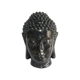 tete bouddha magnesie 32*31*h42.5cm noir