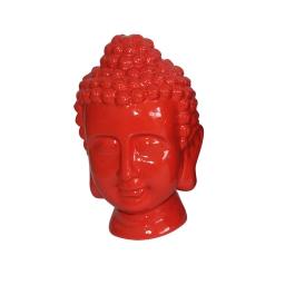 tete de bouddha ceramique 20*20*h31cm rouge