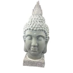 tete de bouddha en magnésie h62cm coloris blanc