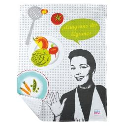torchon 50 x 70 cm coton imprime diner dietetique