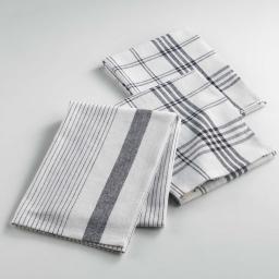 Torchons /3 50 x 70 cm coton tisse pratico Noir