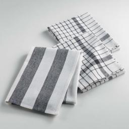Torchons /3 50 x 70 cm coton tisse utilo Noir
