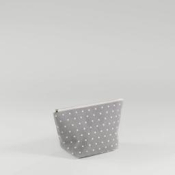 Trousse 29 x 17 cm x ht 12 cm polycoton imprime alicia Gris/Blanc