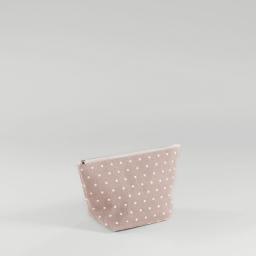 Trousse 29 x 17 cm x ht 12 cm polycoton imprime alicia Rose/Blanc