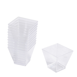 "verrine ""mini aperitif"" carré - 6cl x25 en ps transparent"
