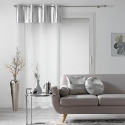 Voilage a oeillets 140 x 240 cm + haut brillant Blanc/argent