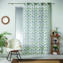 Voilage a oeillets 140 x 240 cm voile sable imprime cactus party