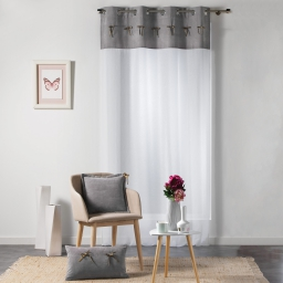 Voilage a oeillets 140 x 240 cm voile sable+top velours+noeuds veloutine Gris