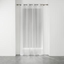 Voilage a oeillets 140 x 240 cm voile tisse applique elea Blanc/argent