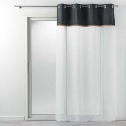 Voilage à oeillets 140 x 240 cm voile uni + jute Anthracite kelonia