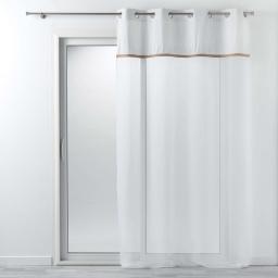 Voilage à oeillets 140 x 240 cm voile uni + jute blanc kelonia