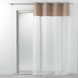 Voilage à oeillets 140 x 240 cm voile uni + jute Naturel kelonia