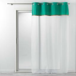 Voilage à oeillets 140 x 240 cm voile uni + jute vert kelonia