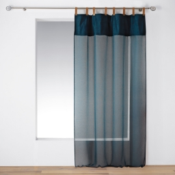 Voilage à passants faux cuir 140 x 240 cm Milleray Bleu