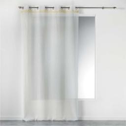 Voilage blanc a oeillets 140 x 240 cm +  franges frangy