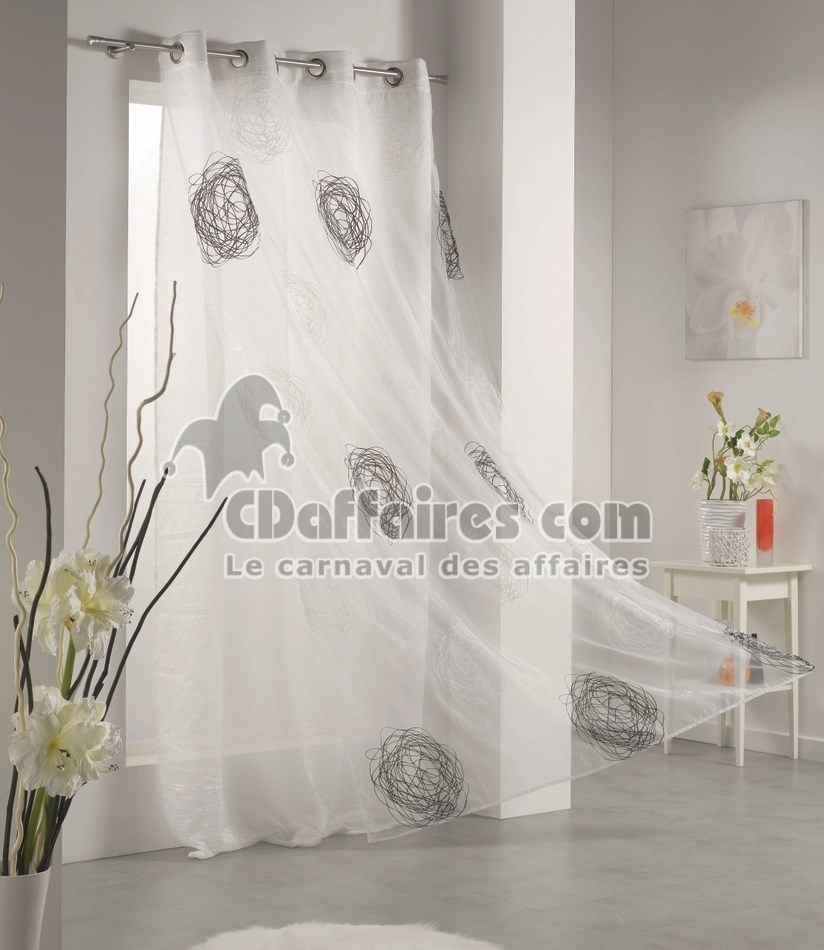 cool voilage luna organza rond gris with voilage luna ivoire. Black Bedroom Furniture Sets. Home Design Ideas