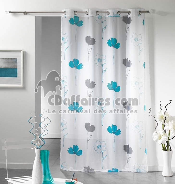 voilage imprim 140x240 cm aliz e bleu ebay. Black Bedroom Furniture Sets. Home Design Ideas