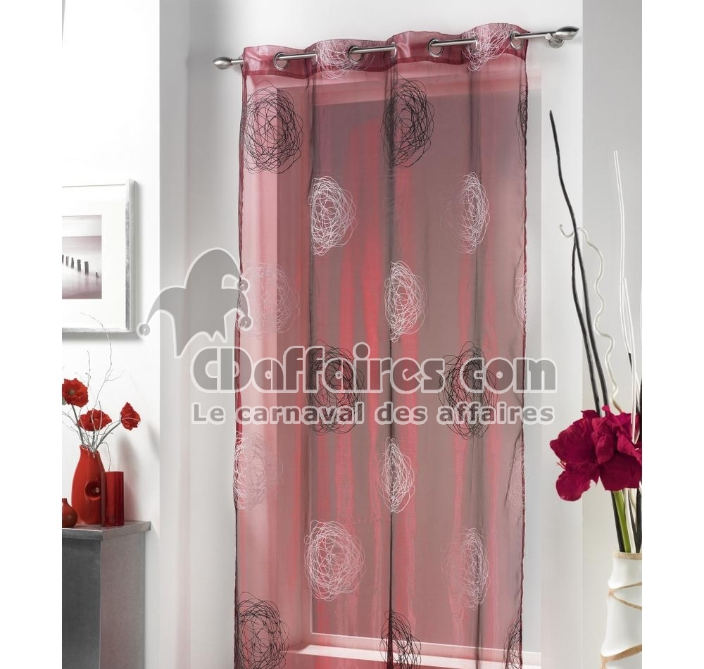 voilage organza 140x240 cm cachou bordeaux am4yjn amwutm. Black Bedroom Furniture Sets. Home Design Ideas