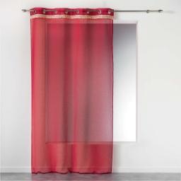 Voilage rouge a oeillets 140 x 240 cm +  franges frangy