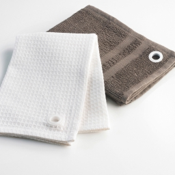 2 essuie-mains 50 x 50 cm eponge unie/coton nid abeille 8509 cafe gourmand Taupe