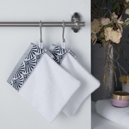 2 gants de toilette 15 x 21 cm eponge unie jacquard goldy Blanc/argent