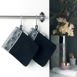 2 gants de toilette 15 x 21 cm eponge unie jacquard goldy Noir/argent