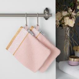 2 gants de toilette 15 x 21 cm eponge unie jacquard goldy Rose/or