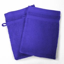 2 gants de toilette 15 x 21 cm eponge unie vitamine Bleu