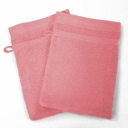 2 gants de toilette 15 x 21 cm eponge unie vitamine Dragee