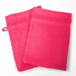 2 gants de toilette 15 x 21 cm eponge unie vitamine Fuchsia