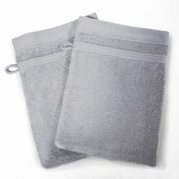 2 gants de toilette 15 x 21 cm eponge unie vitamine Gris