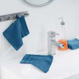 2 gants de toilette 15 x 21 cm eponge unie vitamine Petrole