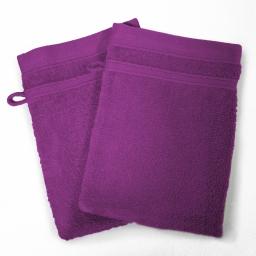 2 gants de toilette 15 x 21 cm eponge unie vitamine Prune