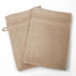 2 gants de toilette 15 x 21 cm eponge unie vitamine Taupe