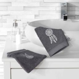 2 gants de toilette 16 x 21 cm eponge brodee talisman Anthracite