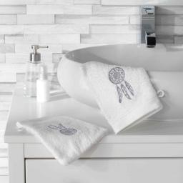 2 gants de toilette 16 x 21 cm eponge brodee talisman Blanc