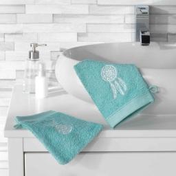 2 gants de toilette 16 x 21 cm eponge brodee talisman Menthe